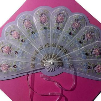 Parchment Craft, Pergamano Wall Art, Handcrafted Parchment Fan, Ladies Fan, Victorian Fan, Papercraft Decor, Tudor, Game of Thrones, Wedding