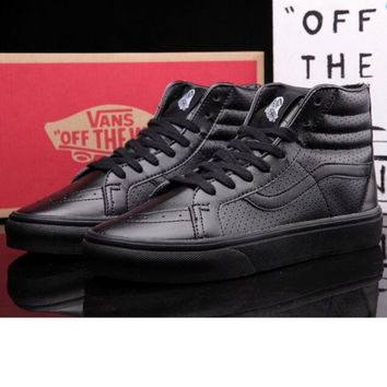 """vans"" Classic tending leather hollow zipper high top casual shoes Full Black"