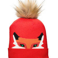 Kate Spade Wooland Critters Intarsia Hat Fairy Tale Red ONE