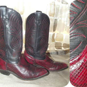 Vintage 80s Red Black Embroidered Snake Skin Cowboy Boots 6.5 Ladies Cowgirl VLV Code West