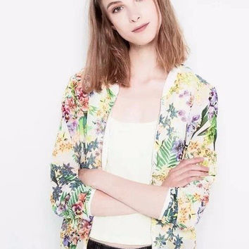 Yellow Floral Print Cuff Sleeve Jacket