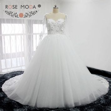 Rose Moda Long Sleeves Puffy Lace Wedding Dresses 3D Flowers See Through Back Wedding Ball Gown