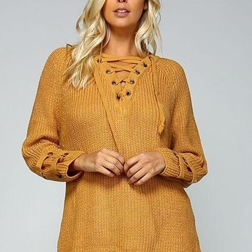 lace up oversized sweater with sinched hem