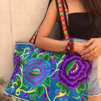 Embroidery bag,Handbag,Boho,Flower print design,luggage bag,Travel bag,Shopping,Festival,Bohemian,Hippies,Unique bag,Women Gift,unique gifts