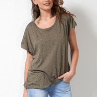 Brooklyn Karma Mayven Destroyed Tee - Olive