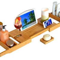 Handcrafted Bamboo Bathtub Caddy/Tray