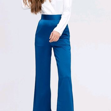 Smooth Operator Royal Blue High Waist Wide Leg Loose Pants