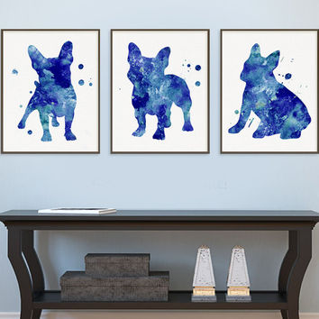 Blue French Bulldog Watercolor Art Print, French Bulldog Painting, Set of 3 Prints, French Bulldog Wall Art, French Bulldog Wall Decor