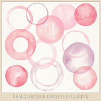 Watercolor clipart circles borders and frames (48 pc) pink purple rose. handpainted round clip art for blogs digital scrapbooking cards etc