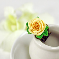 yellow rose Adjustable Ring, flowers ring, vintage ring , jewelry
