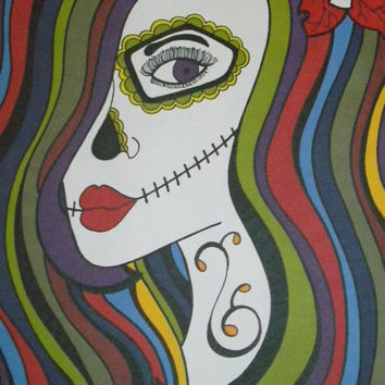 Colorful Sugar Skull Girl 9x12 Sharpie and Promarker Drawing, Day of the Dead Art, Dia De Los Muertos Alternative Gift Idea, Sw