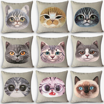 cat Print Home Decorative Cushion Throw Pillow Vintage Cotton Linen Square Pillows