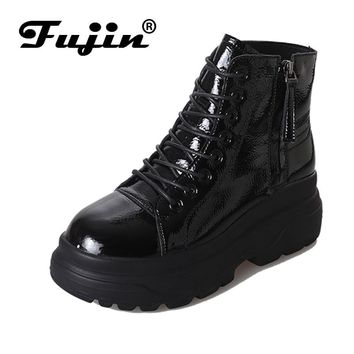 Fujin Winter Ankle Boots Pu Leather Women Boots Fashion  Boots Women Work Shoes Black Round Toe Lace-Up Women Shoes Female Boots