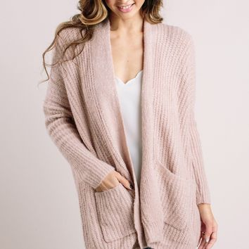 Ria Ribbed Blush Cardigan