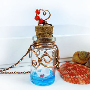 Glass vial necklace, ocean in a bottle necklace, mniature bottle pendant, origami paper boat necklace, glass bottle necklace, ooak pendant