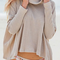 Long Sleeve Turtleneck Pleated Sweater