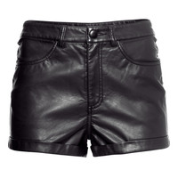 H&M - Imitation Leather Shorts - Black - Ladies