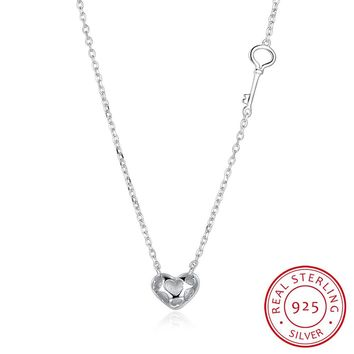 S925 Silver Necklace Trend Personality Fashion Key Heart Necklace