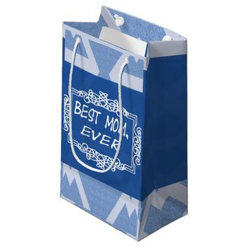 Customizable Navy Blue Best Mom ever Small Gift Bag