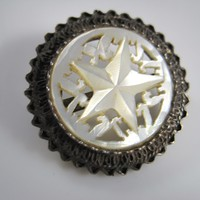 Vintage Carved Mother of Pearl and Sterling Silver Bethlehem Star Brooch