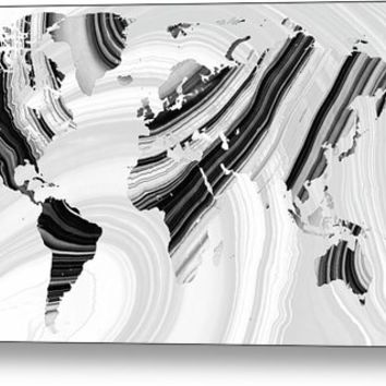 Black And White Marbled World Map - Sharon Cummings Metal Print
