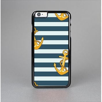 The Navy Striped with Gold Anchors Skin-Sert Case for the Apple iPhone 6 Plus