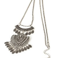 FOREVER 21 Tribal-Inspired Pendant Necklace Burn.S One