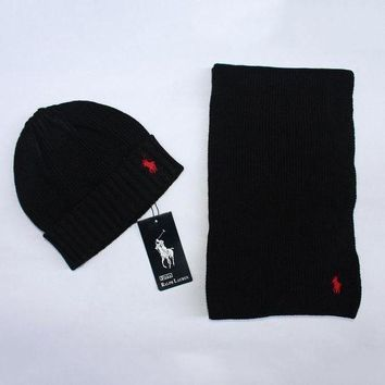 DCCKNQ2 Polo Women Men Winter Knit Hat Cap Scarf Set Two-Piece
