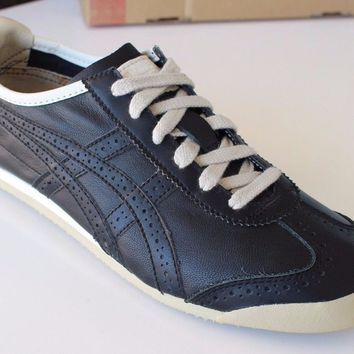 ASICS Onitsuka Tiger Mexico 66 BRG Black Leather Sneakers Size US-7 Retro Shoes