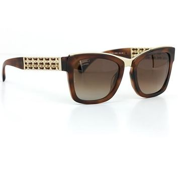 Chanel 5362 Square Sunglasses Tortoise Frame with Brown Polarized Lenses