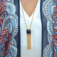 Square One necklace, navy