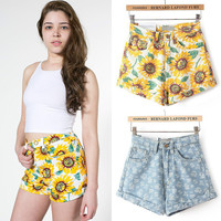 Summer High Rise Denim Slim Hip Up Shorts [6034323073]