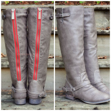 Montana Maple Taupe Red Zipper Riding Boots