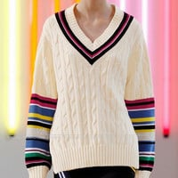 European Brand High Street Autumn Stripes V-neck Loose Long Sweater Pullover Woman New 2015 Fall Fashion Striped Oversize Jumper