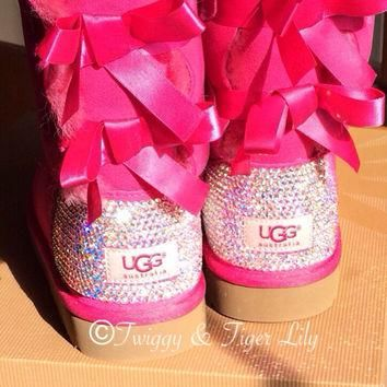 Princess Pink Ugg Bailey Bows with Swarovski Crystal Embellishment - Princess Pink Bai