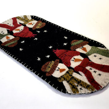 Snowman Penny Rug - Hand Stitched Wool Applique - Fiber Art Candle Mat - Seasonal Winter Decor - Folk Art Snow - Table Topper Runner -Woolen