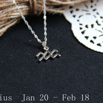 Sterling silver Aquarius Necklace, Zodiac Necklace, Petite Necklace, Simple Necklace, Everyday Necklace, gift necklace, Dainty Jewelry
