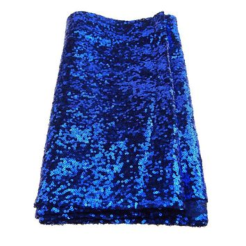 Sparkling Sequins Fabric Table Runner, 14-Inch x 108-Inch, Royal Blue