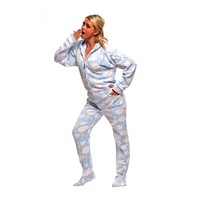 Star and cloud printed Footie Pajamas, adult Onesuits with Stars