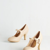 Vintage Inspired Jive O'Clock Somewhere Heel in Buttercream by ModCloth