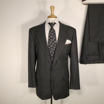 Vintage Mens suit, vintage clothing 80's by Mark Shale Two Piece Two Button Classic Dark Grey Birdseye 42