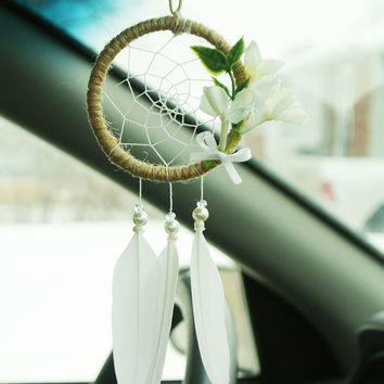 Floral Boho Car Accessory: Car Dreamcatcher, Sweet 16 Gift, New Driver Gift, Boho Car Accessory for Women, Boho Dreamcatcher, Cute Car Decor