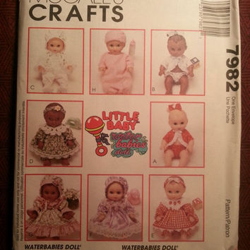 Uncut 1995 McCall's Sewing Pattern, 7982! Waterbabies Dolls/Doll Wardrobe/Clothes/Jackets/Hats/Sacque/Dresses/Bonnets/Headbands
