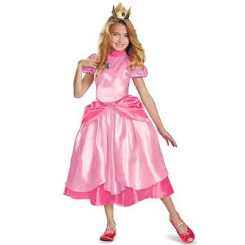 Cool Little Princess Peach Costume Super Mario Brothers Princess Cosplay Classic Game Costume Kids Girl Halloween Fancy DressAT_93_12
