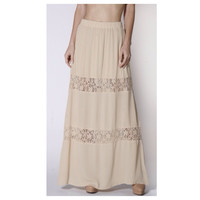 "In Style ""Lovely in Lace"" Tan Lace Paneled Maxi Skirt, Boho, Women's Apparel"
