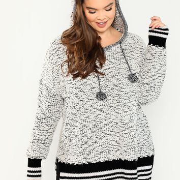 Two-Tone Pullover Knit Hoodie With Pompom Detail