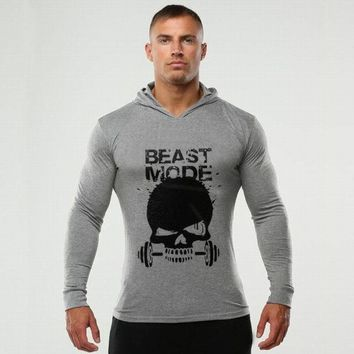 Beast Mode Printed Hoodie - Men's Fitness Bodybuilding Hoodies Gyms Pullover