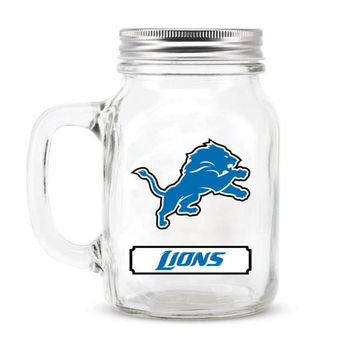 Detroit Lions NFL Mason Jar Glass With Lid