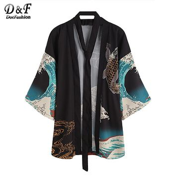 Dotfashion Vintage Print Kimono Women Half Sleeve V Neck Casual Blouse Japan Style Tops Fall 2018 Fashion New Boho Tunic Kimono