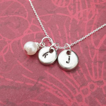 Two tiny little initials and a pearl - personalized hand stamped jewelry - family or couples initial necklace - ADD up to four initials